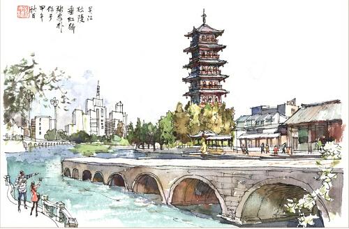 美丽吴江 手绘明信片发行了